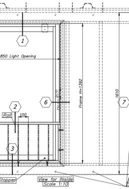 חלון פלדה מוסדי רפואי חד-כנפי, דו-תכליתי, עם הכנה לכיס במידות 140X85